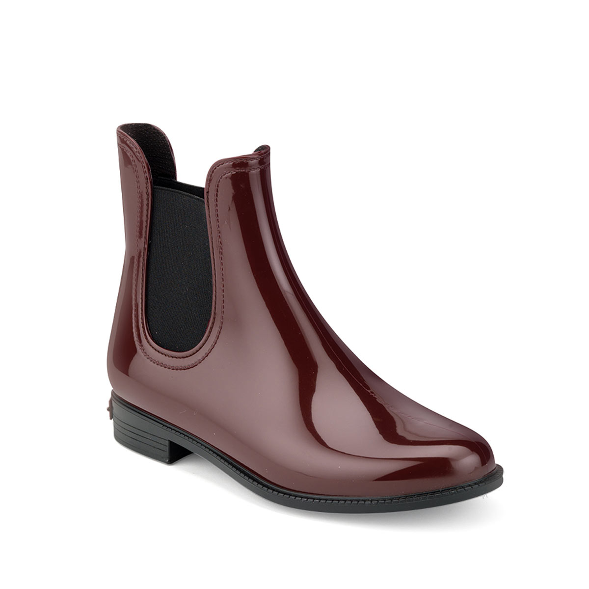 chelsea boot in bordeaux pvc with synthetic sheared faux. Black Bedroom Furniture Sets. Home Design Ideas