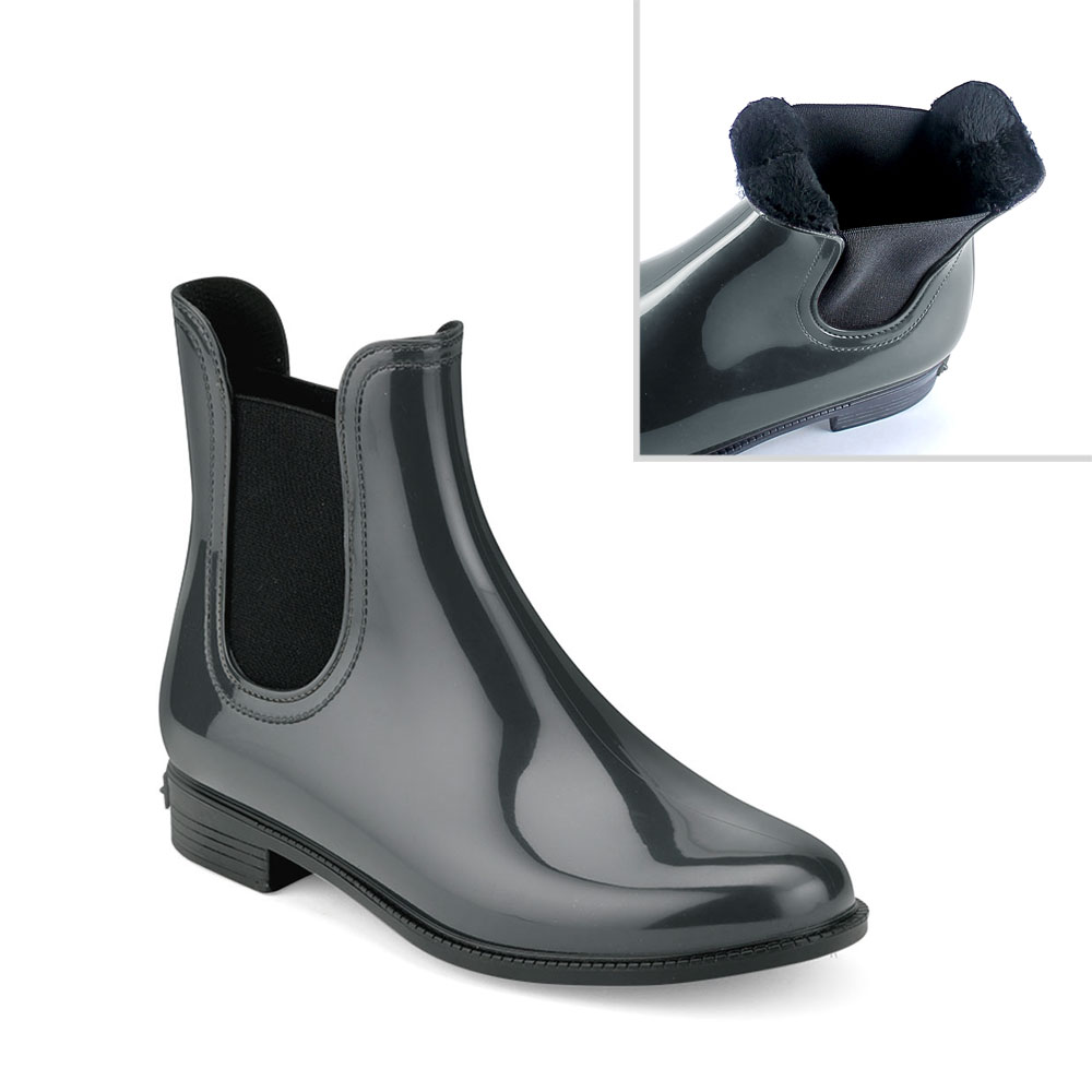 Chelsea boot in Smoke Gray pvc with synthetic sheared faux fur lining