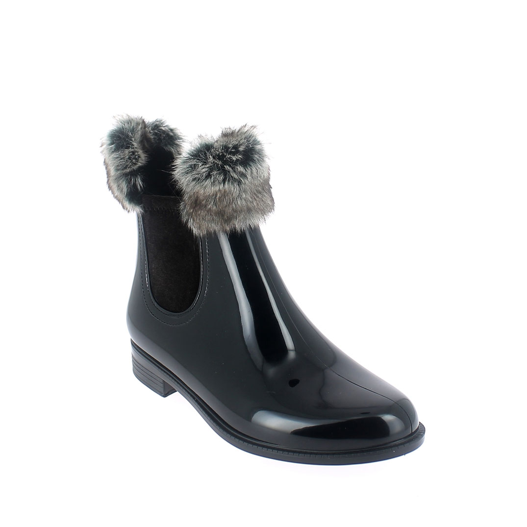 Chelsea boot in Black-Brown pvc with synthetic sheared faux fur lining and cuff