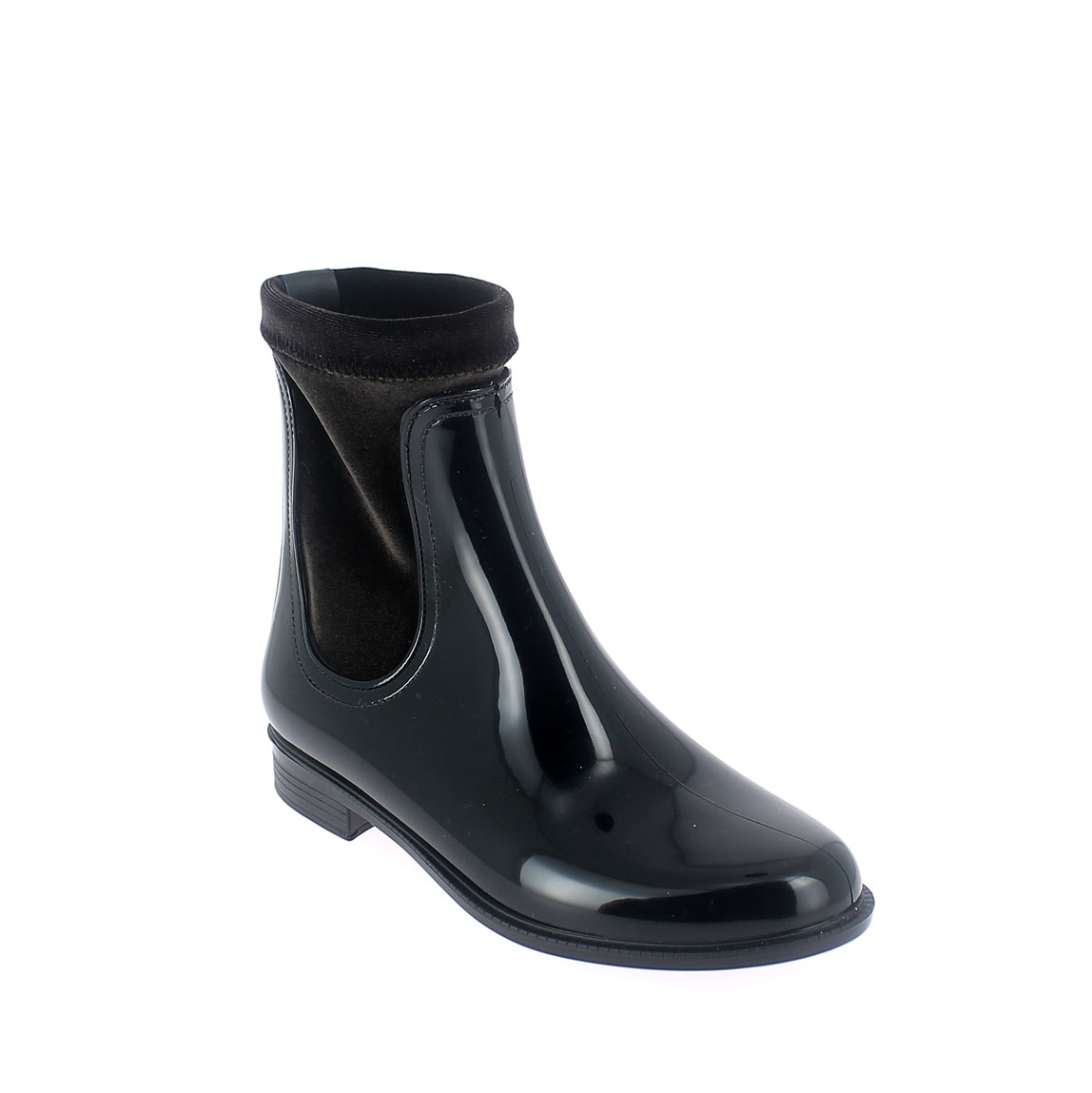 Chelsea boot in Black-Brown pvc with stretch velvet lining