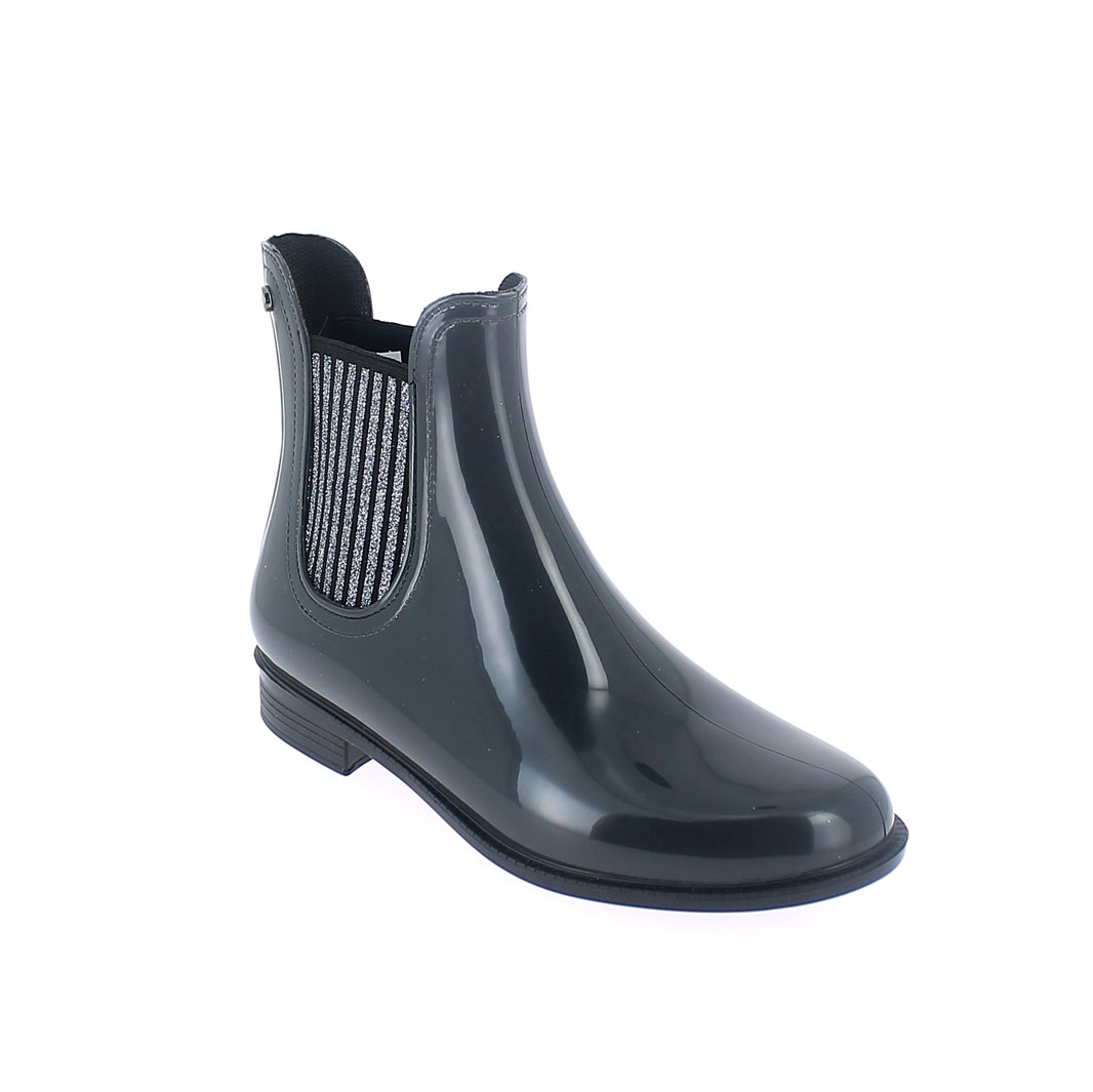 Chelsea boot in Smoke Gray pvc with glittered elastics