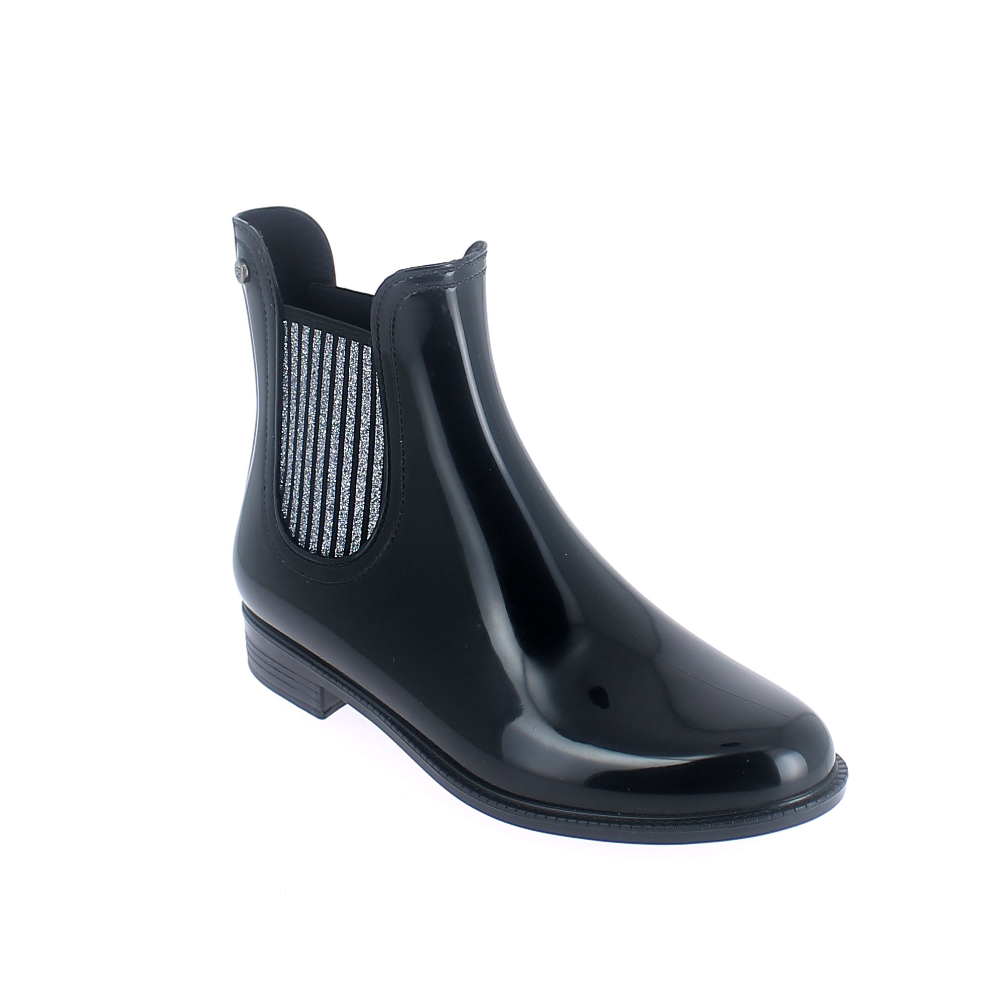Chelsea boot in Black pvc with glittered elastics