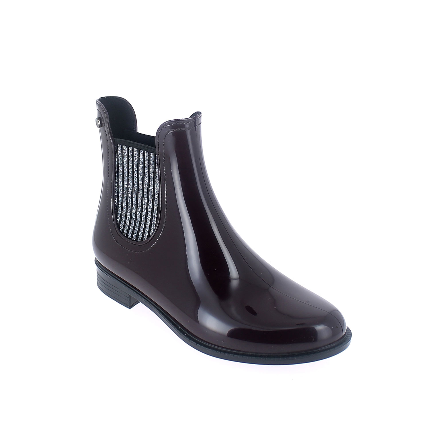 Chelsea boot in Sanguinaccio pvc with glittered elastics
