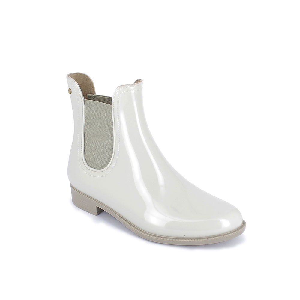 Chelsea boot in Trench dual colour pvc with gold colour lateral stud