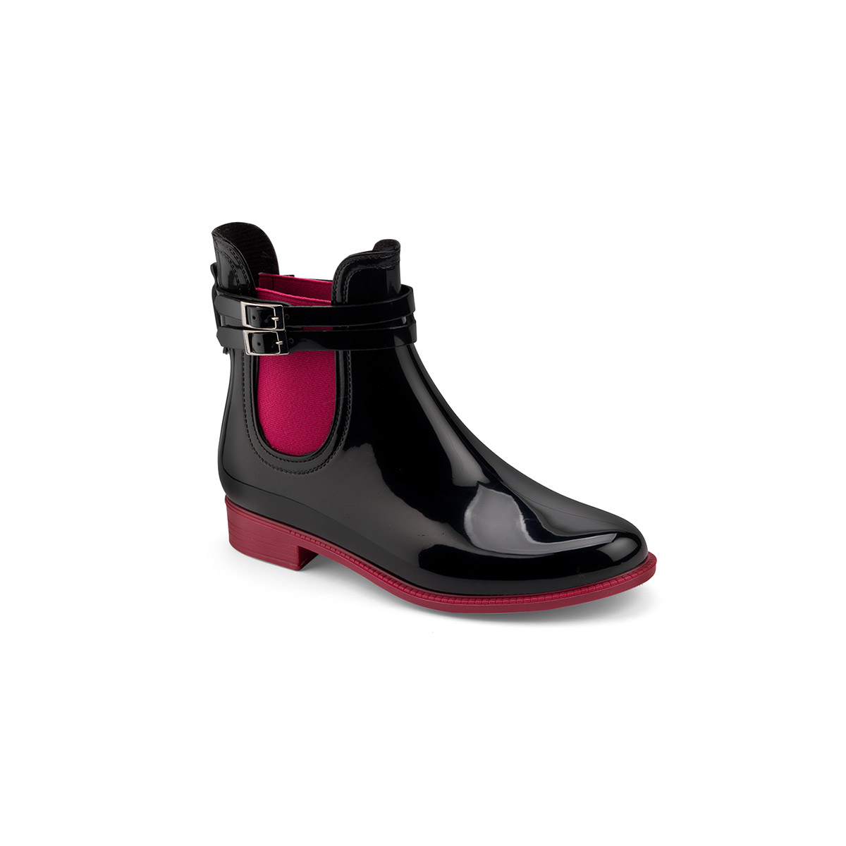Two-colour chelsea rain boot with double strap