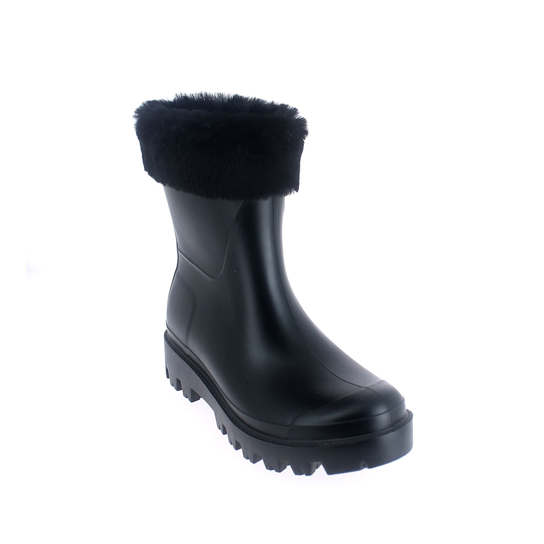 Wellington low boot in Black pvc with inner lining and cuff