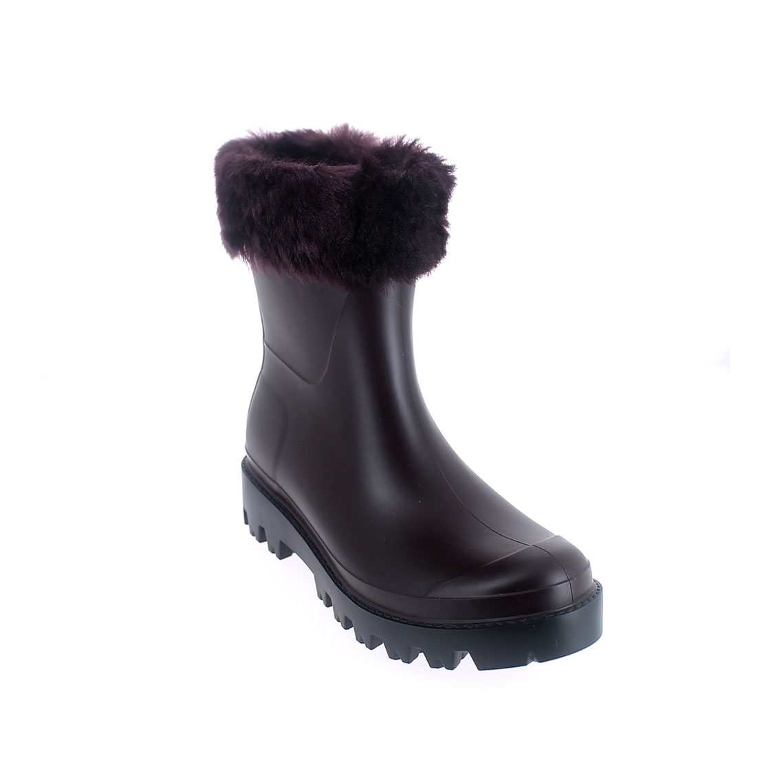 Wellington low boot in Sanguinaccio pvc with inner lining and cuff