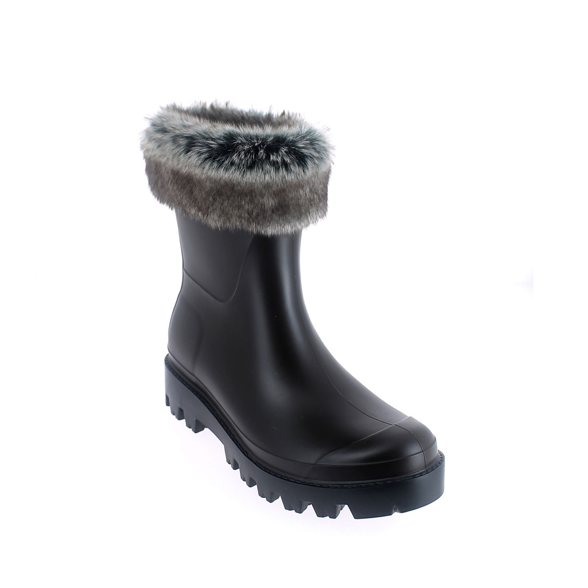 Wellington low boot in Testa di moro pvc with inner lining and cuff