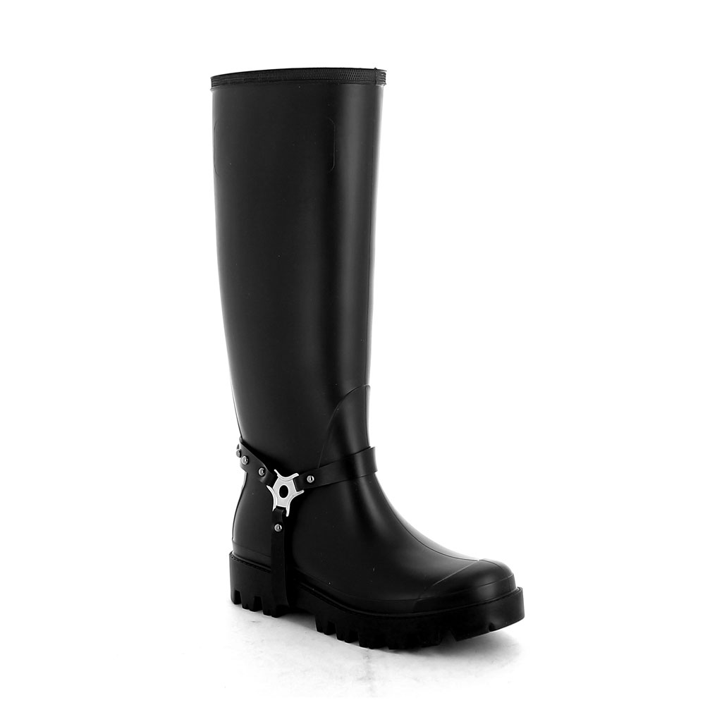 Wellington boot in Black pvc with studded stirrup
