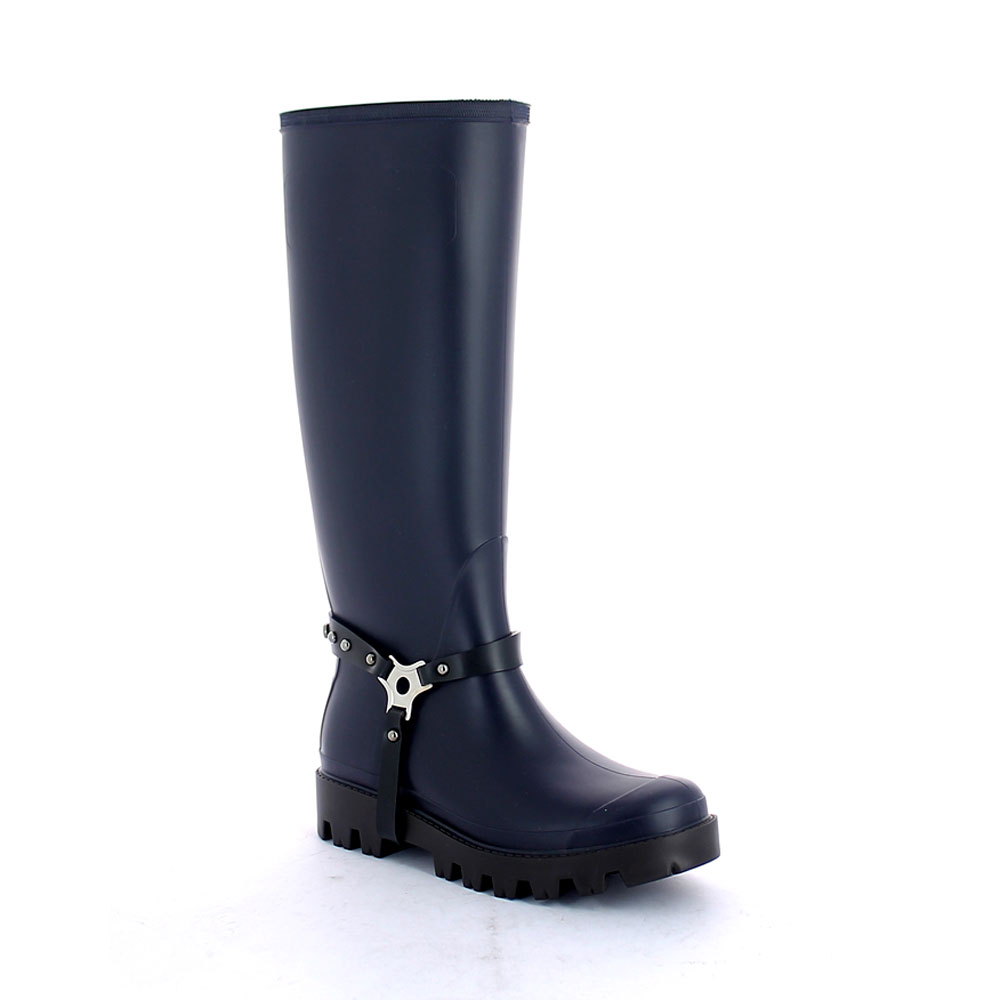 Wellington boot Royal scuro con staffa borchiata