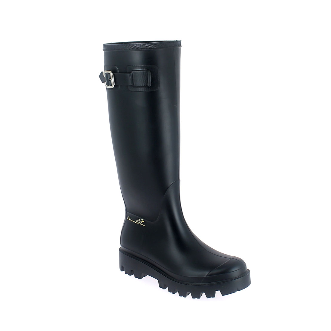 Wellington boot in Black pvc with metal buckle and 3D logo