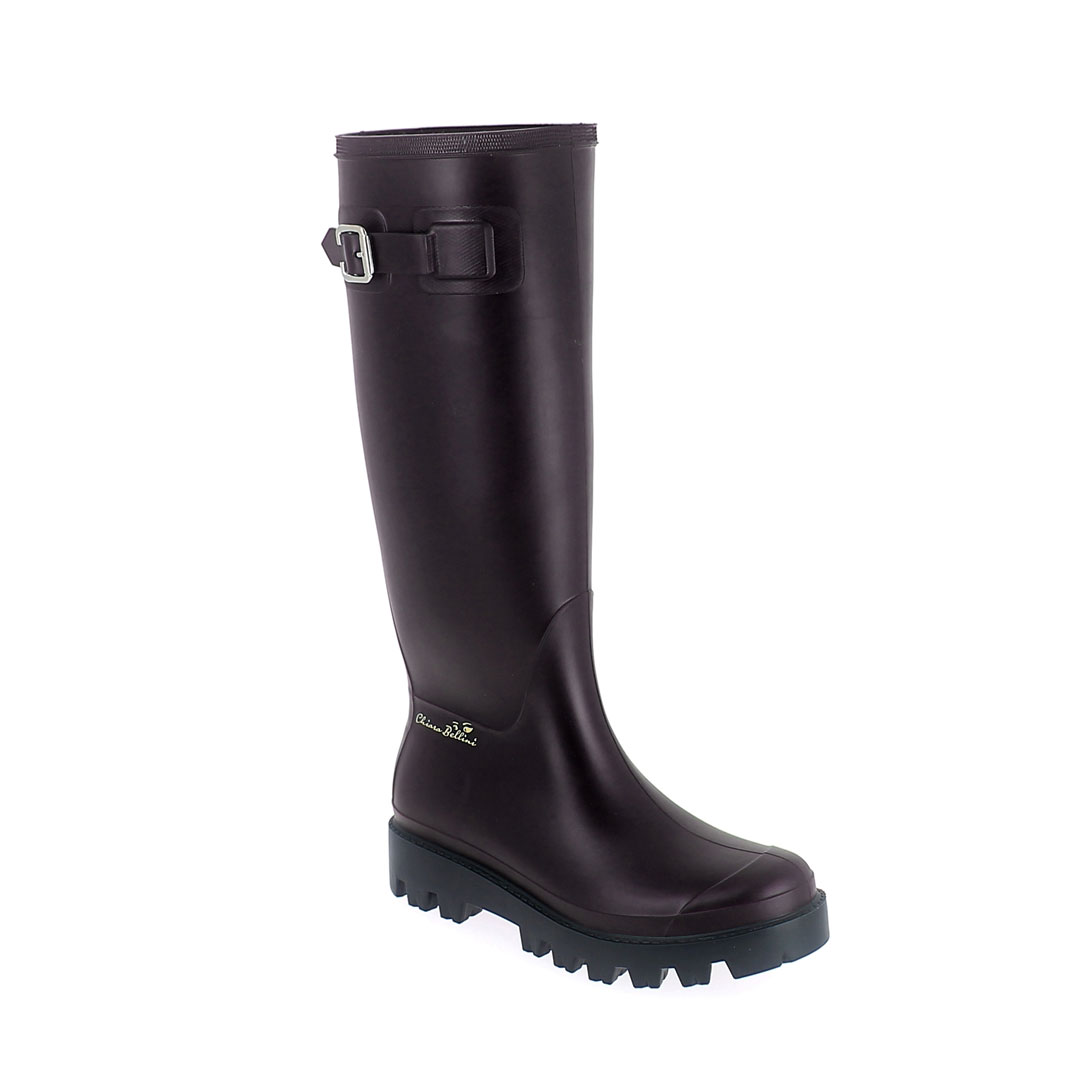 Wellington boot in Sanguinaccio pvc with metal buckle and 3D logo