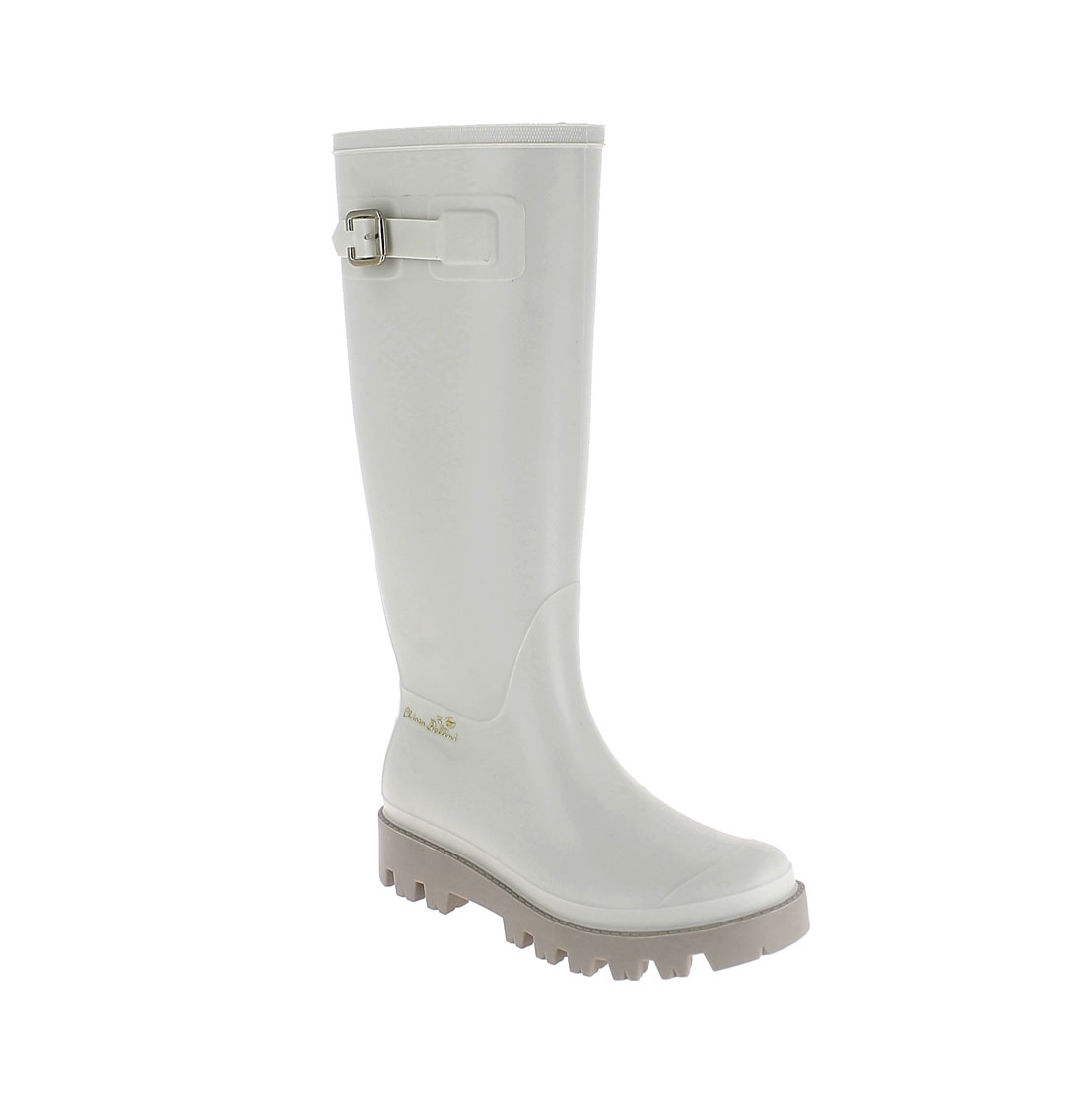 Wellington boot in trench pvc with metal buckle and 3D logo