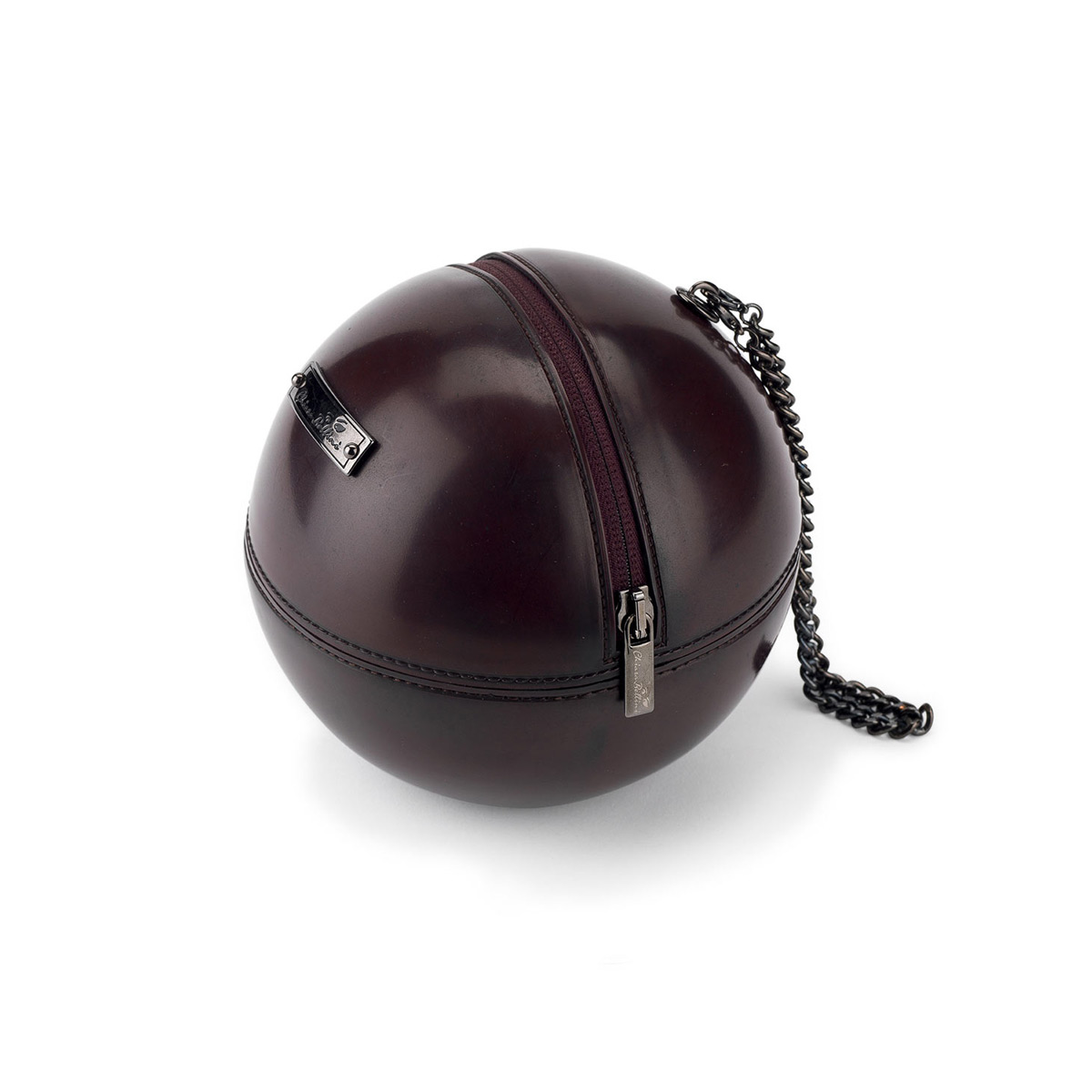 "Borsa sfera ""rock'n'ball"" in pvc bordò effetto vintage"