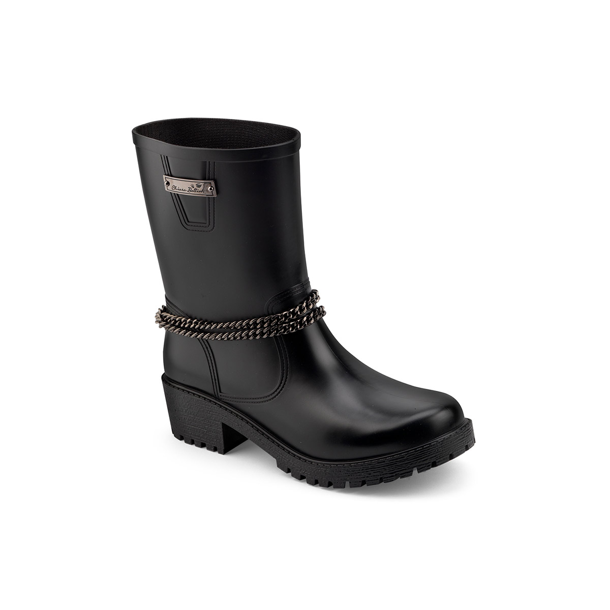 Pvc biker low boot with chain