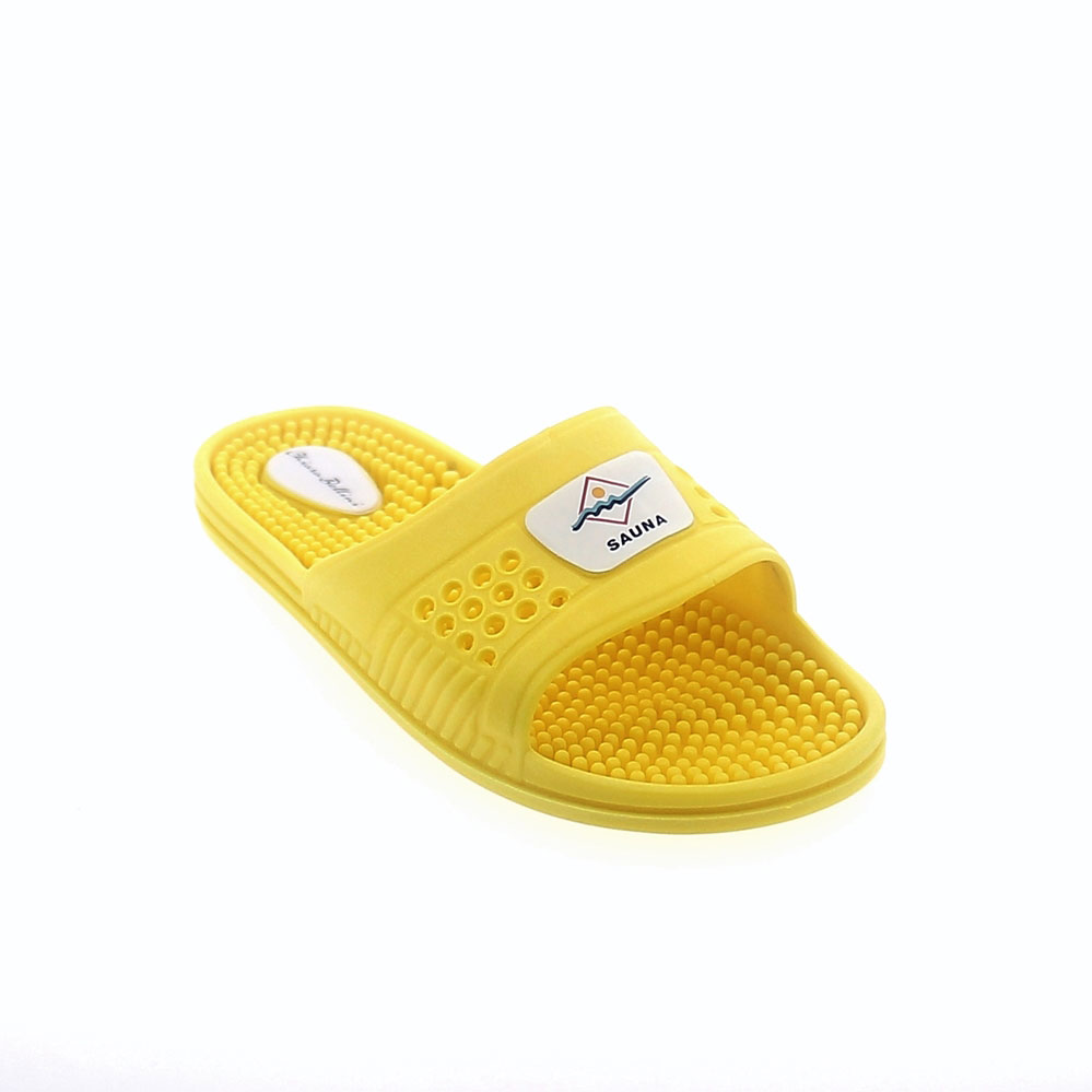 PVC SUMMER MULE IN YELLOW COLOUR WITH MASSAGING PEGS