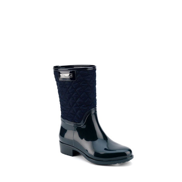 Pvc boot in blue with low leg in bright quilted fabric