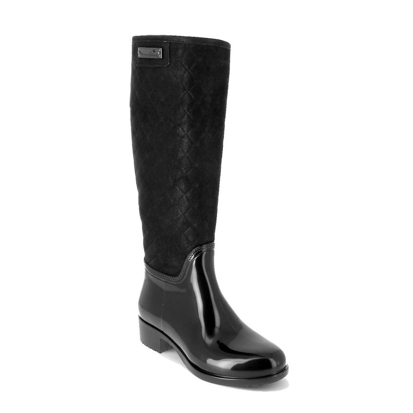 Pvc boot in black with a suede effect high leg with quilting
