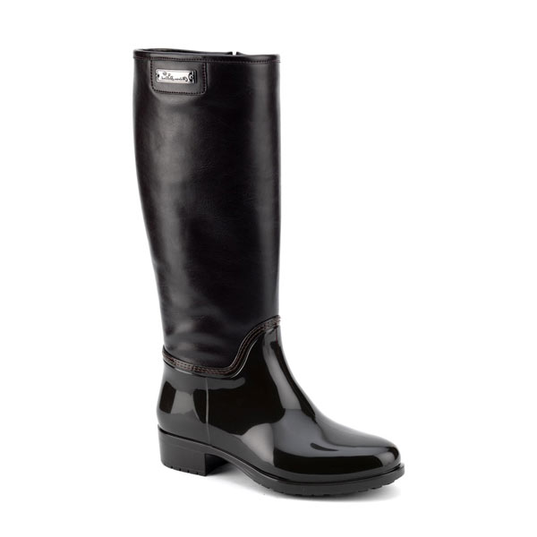 Pvc boot in dark brown with leatherette high leg