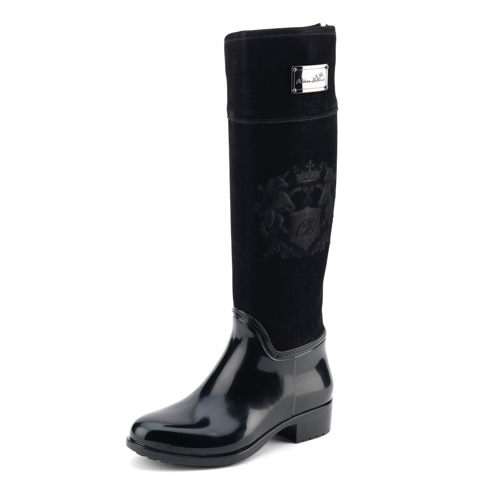 Luxury Pvc boot in black with a suede effect high leg and embossing