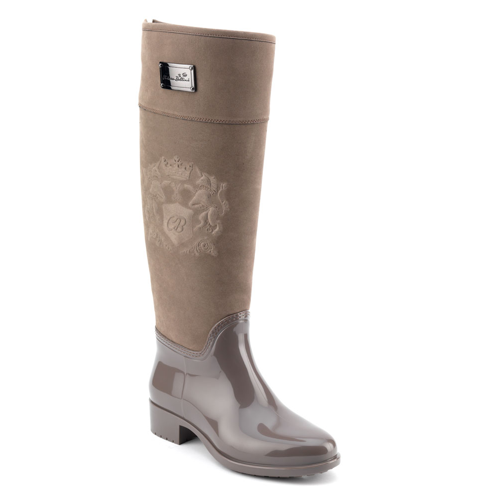 Luxury Pvc boot in taupe with a suede effect high leg and embossing