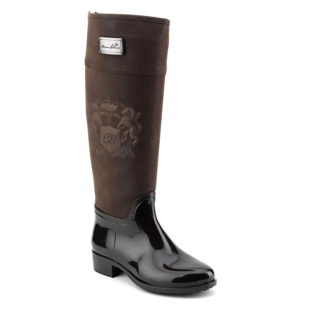 Luxury Pvc boot in dark brown with a suede effect high leg and embossing