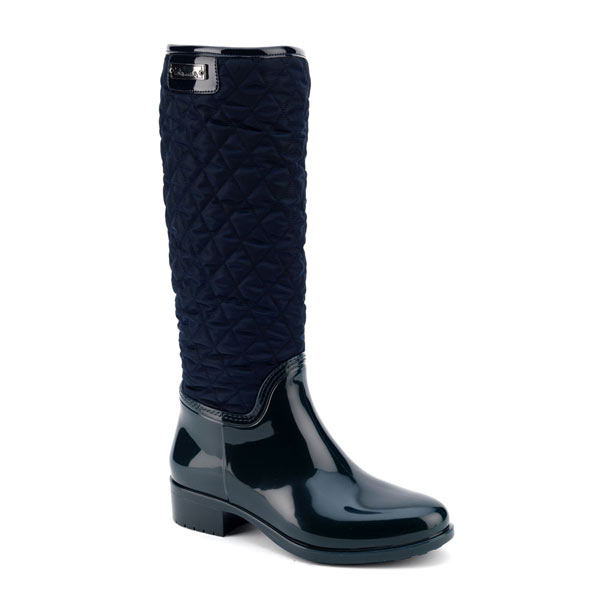 Pvc boot in blue with high leg in bright quilted fabric
