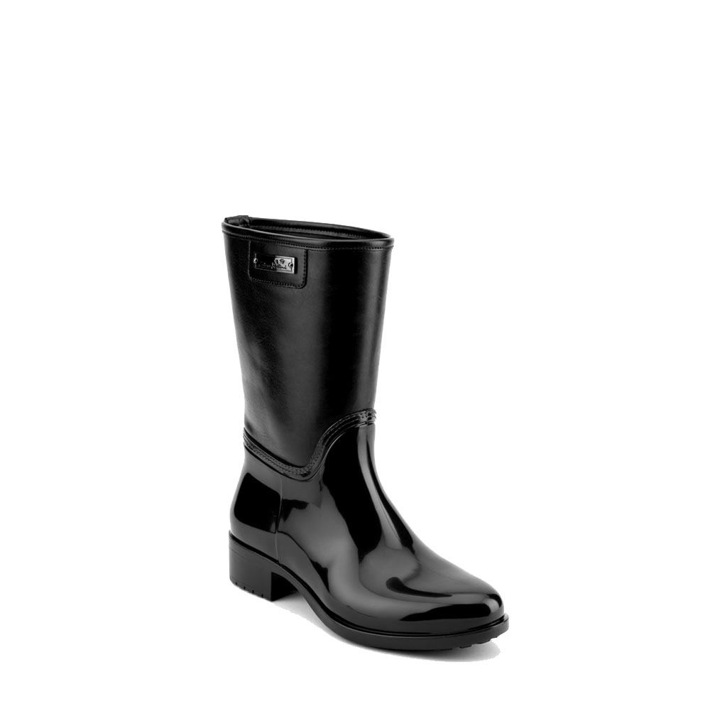 Boot in black pvc with leatherette low leg