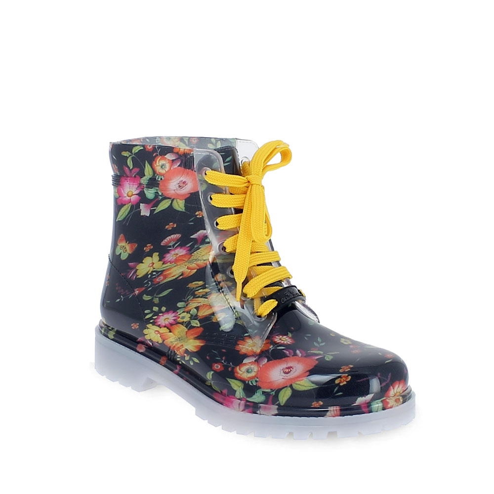 Floral fantasy PVC short laced up boot