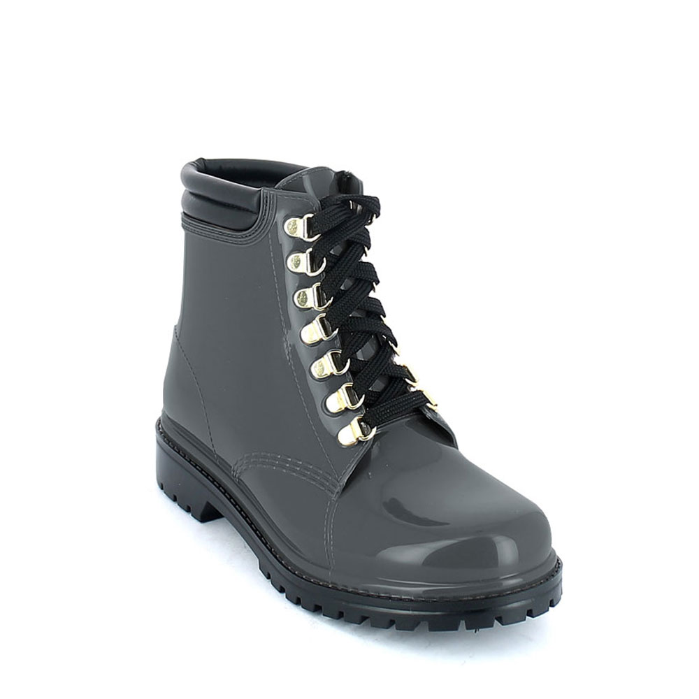 Short laced up walking boot in Smoke Gray pvc with leatherette padded trim