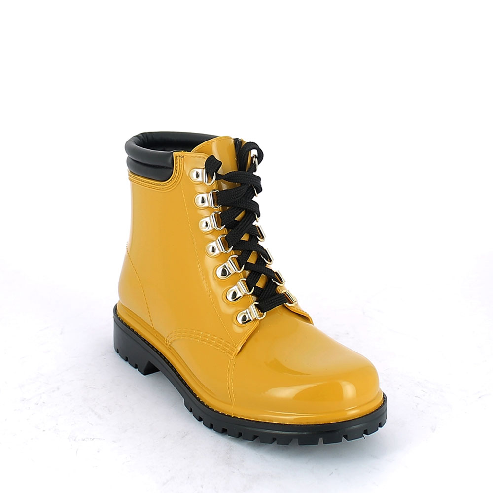 Short laced up walking boot in Mustard yellow pvc with leatherette padded trim