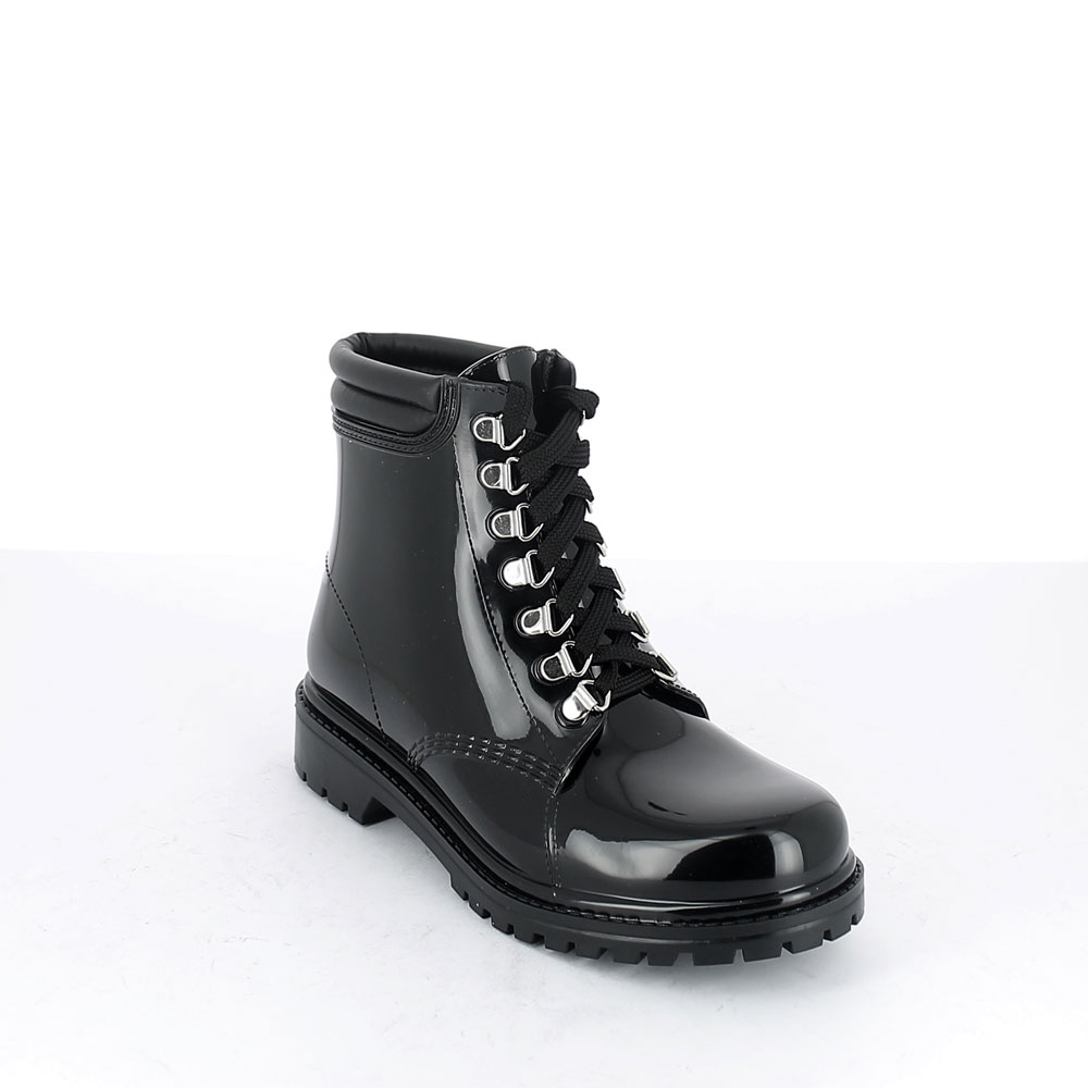 Short laced up walking boot in Black pvc with leatherette padded trim. New 3D logo