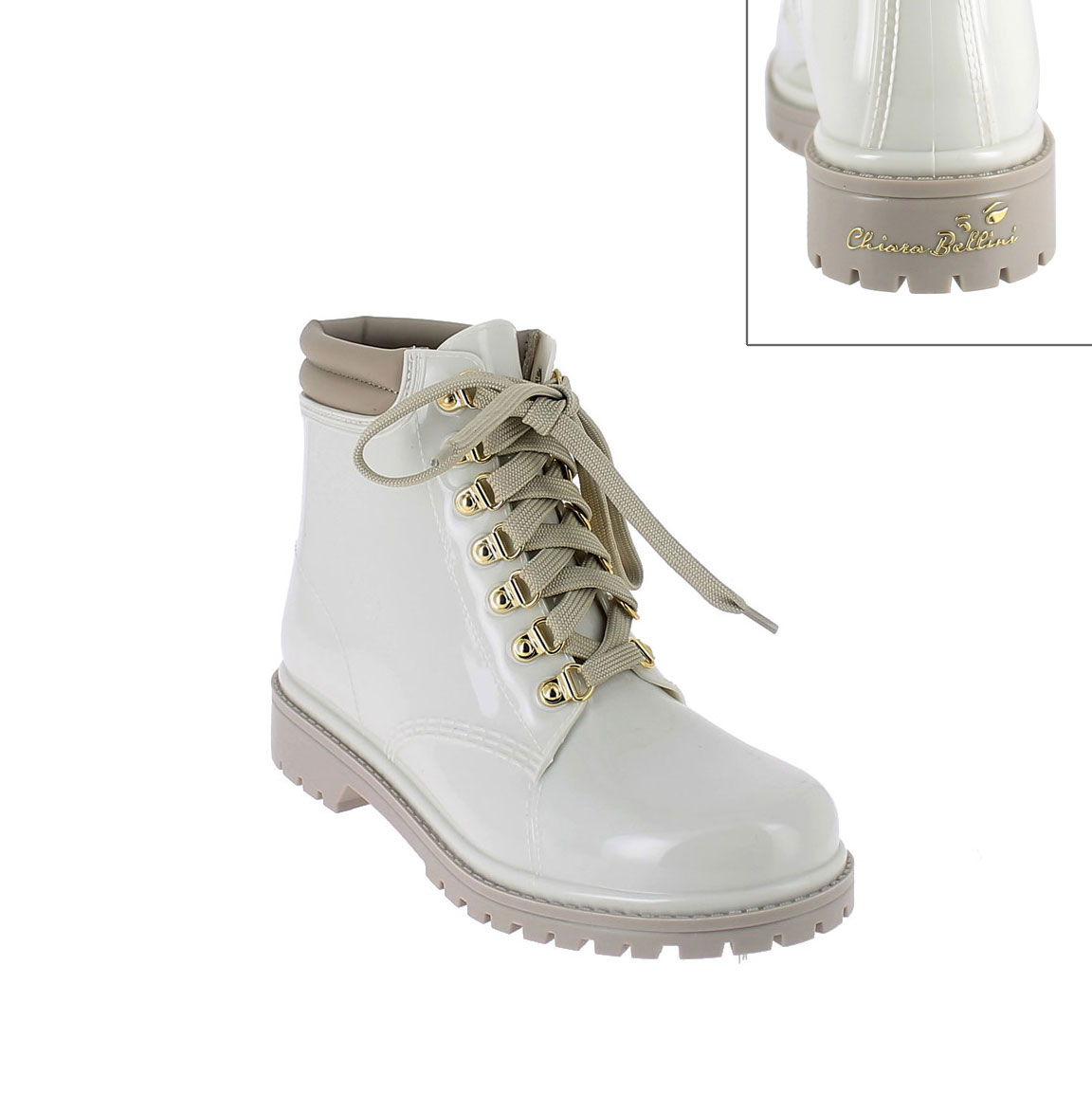 Short laced up walking boot in trench pvc with leatherette padded trim. New 3D logo