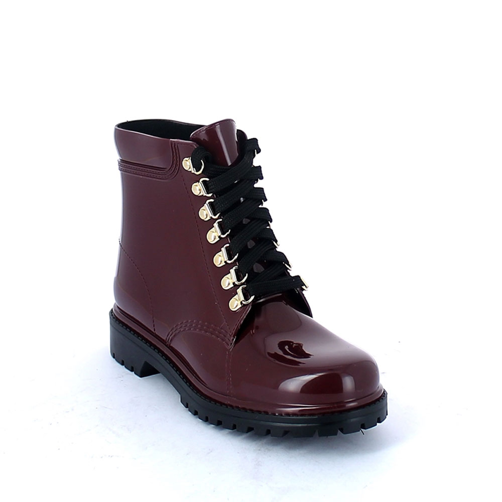 Classic model of Short laced up walking boot in Bordeaux pvc