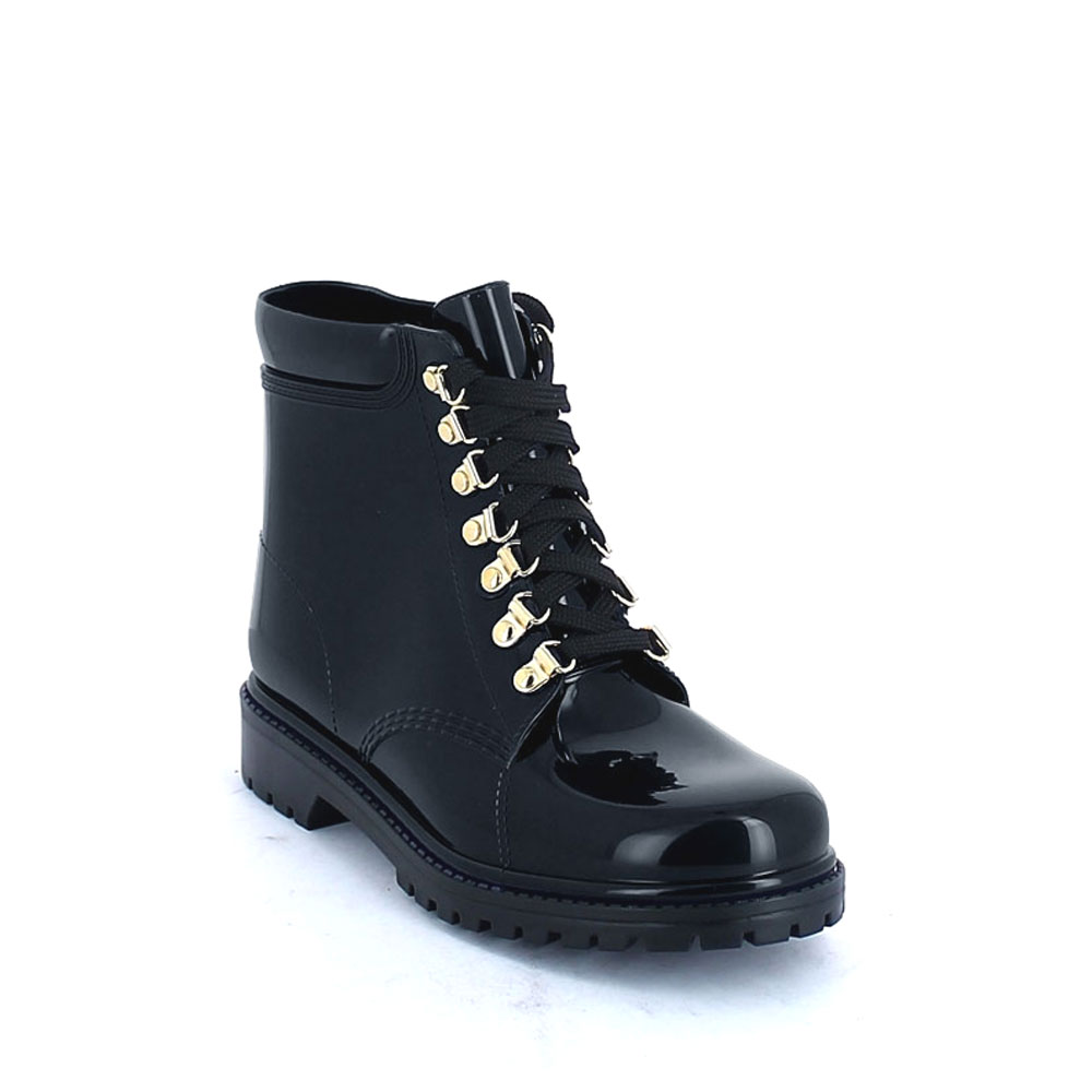 Classic model of Short laced up walking boot in Black pvc
