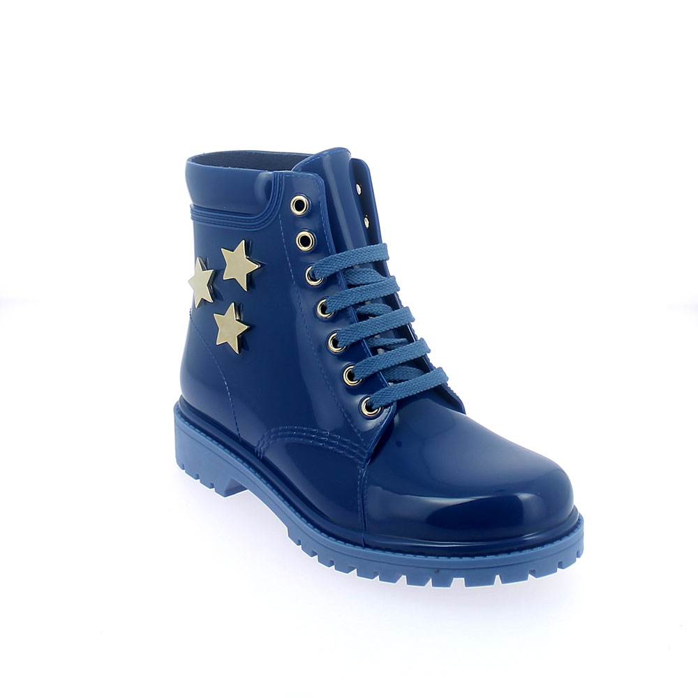 "SHORT LACED UP WALKING BOOT IN ""BLU CHIARO"" PVC WITH GOLD STARS"