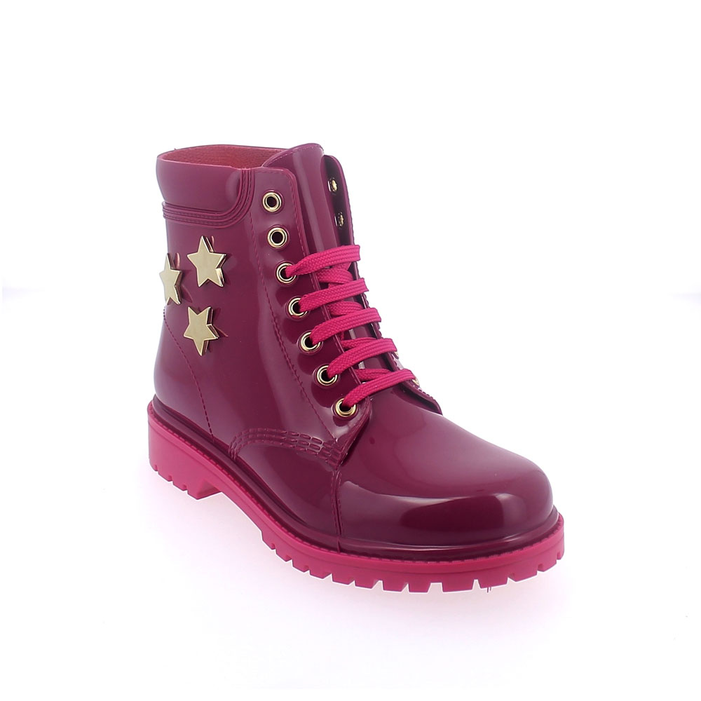 "SHORT LACED UP WALKING BOOT IN ""LAMPONE"" PVC WITH GOLD STARS"