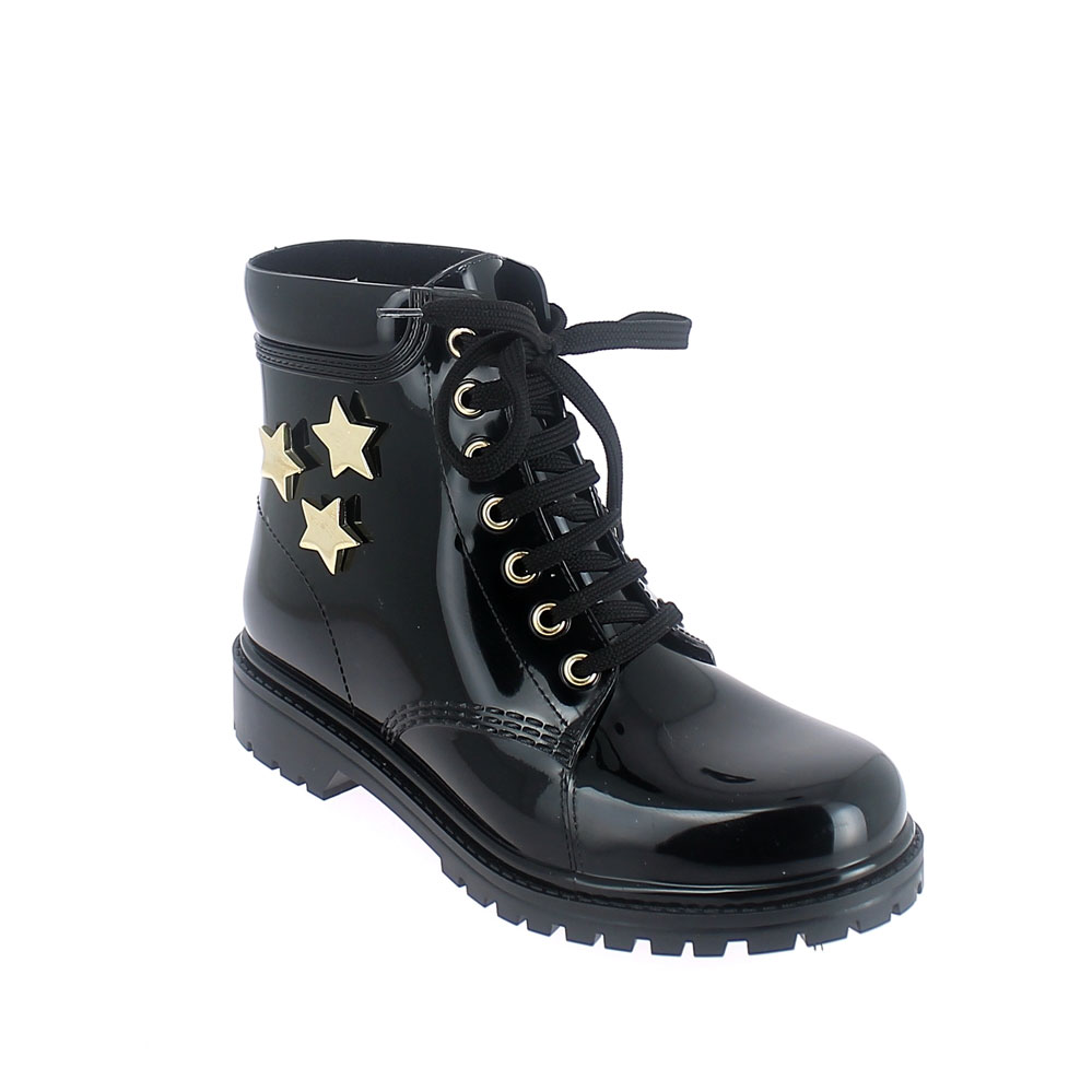 Short laced up walking boot in black pvc with gold stars