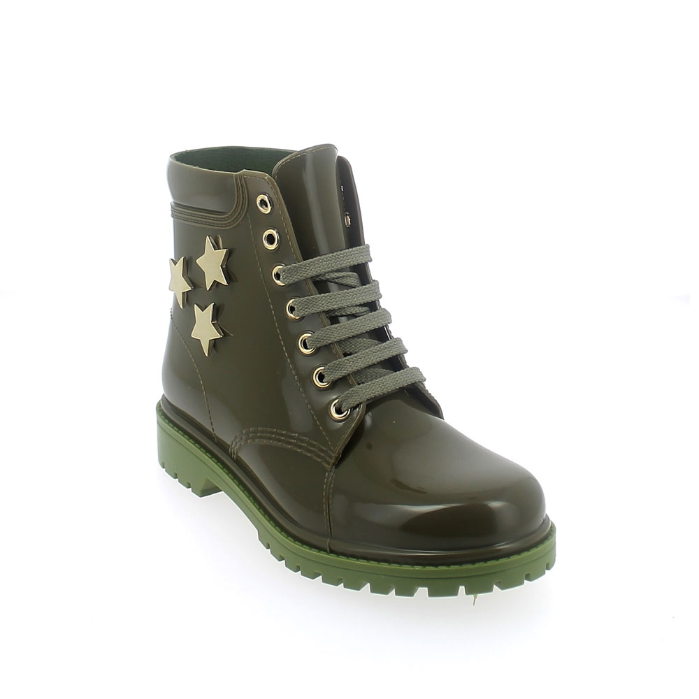 "SHORT LACED UP WALKING BOOT IN ""OLIVA"" PVC WITH GOLD STARS"