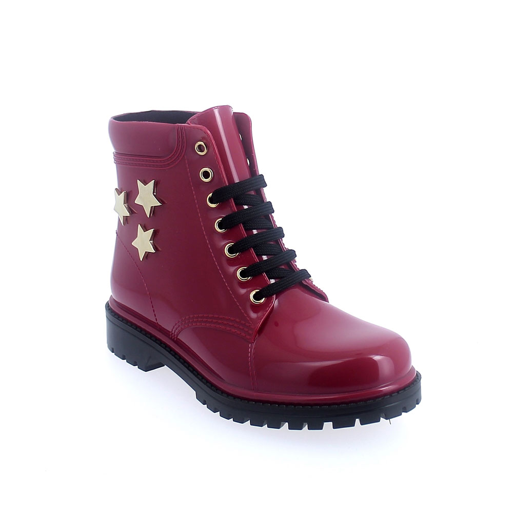 "SHORT LACED UP WALKING BOOT IN ""SUK PVC WITH GOLD STARS"