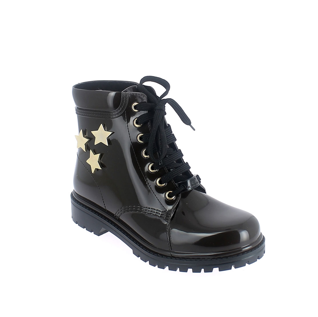 Short laced up walking boot in testa di moro pvc with gold stars
