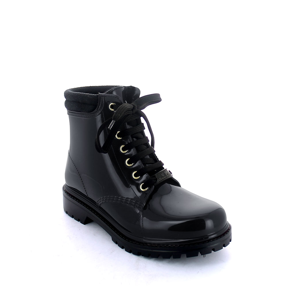 Short laced up walking boot in Black pvc with padded trim and sheep skin lining