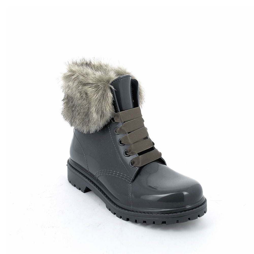 Short laced up boot in Smoke Gray pvc with faux fur collar and felt inner lining