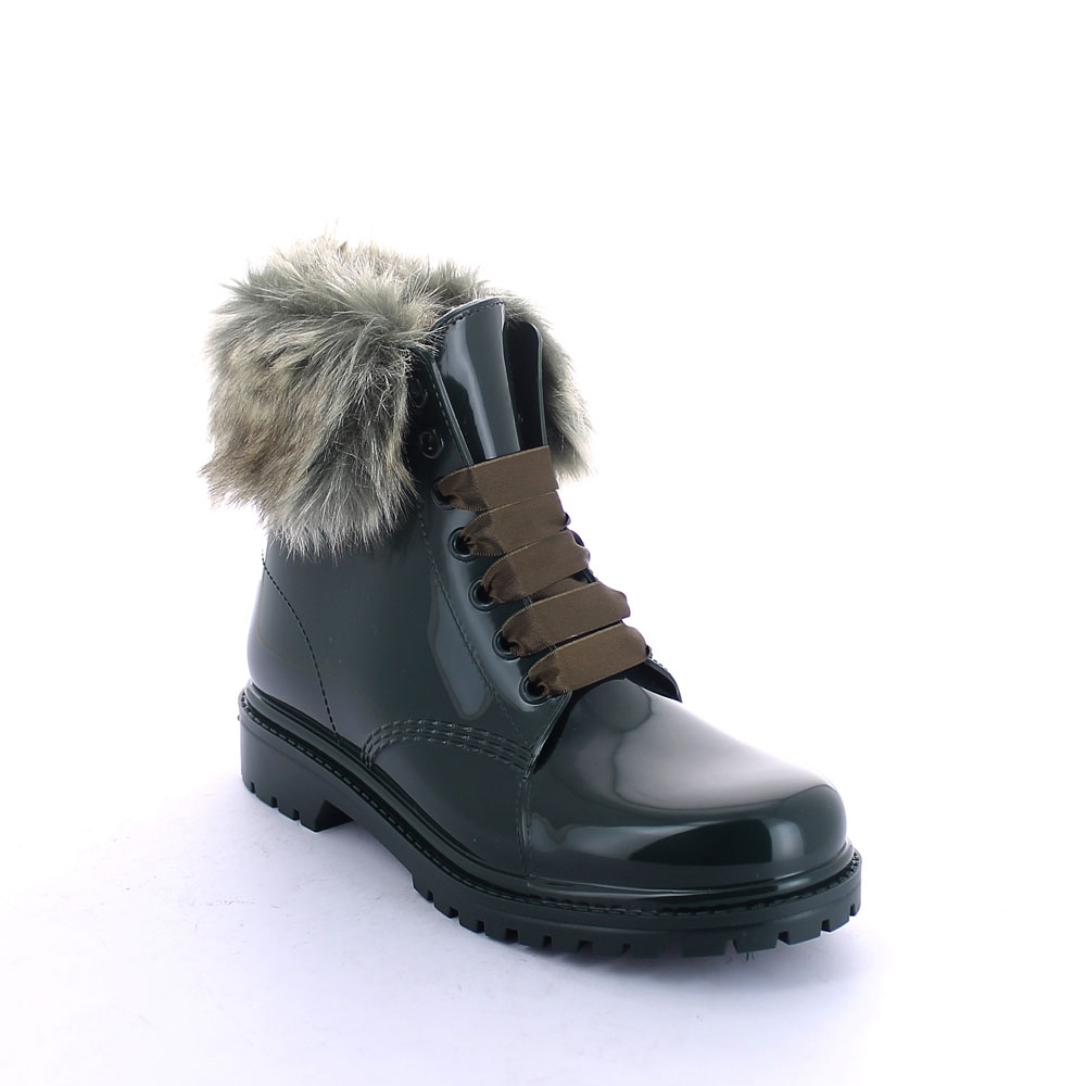 Short laced up boot in Pine Green pvc with faux fur collar and felt inner lining