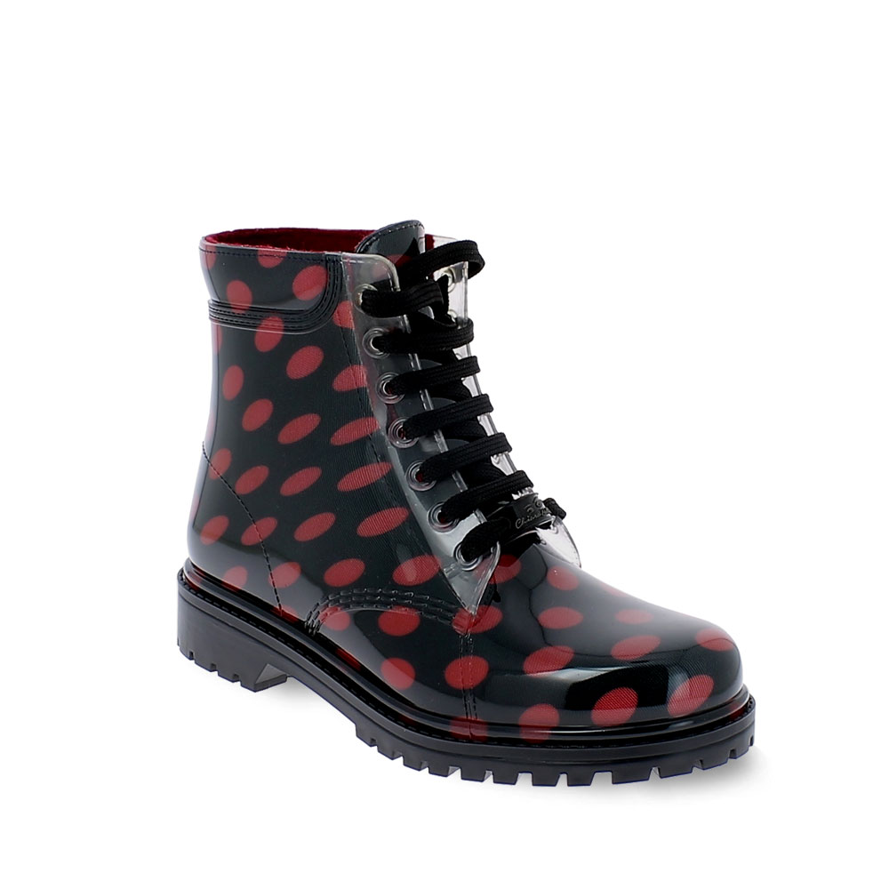 Short laced up boot with polka dot fantasy and inner lining