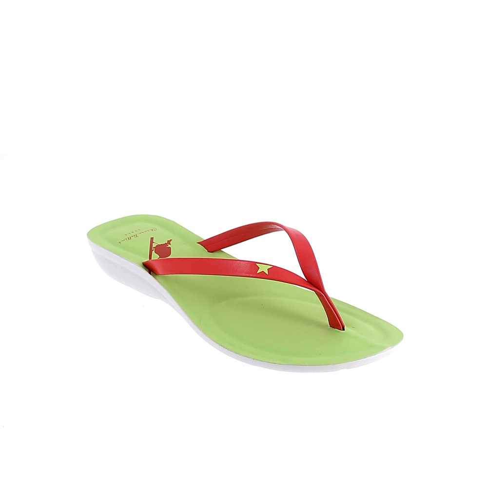 Two-colour faux leather thong in corallo-lime colour