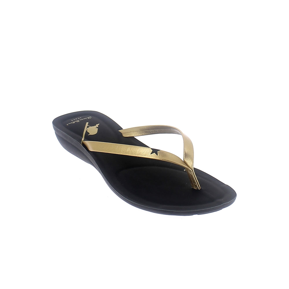 TWO-COLOUR FAUX LEATHER THONG IN GOLD-BLACK COLOUR def03777a