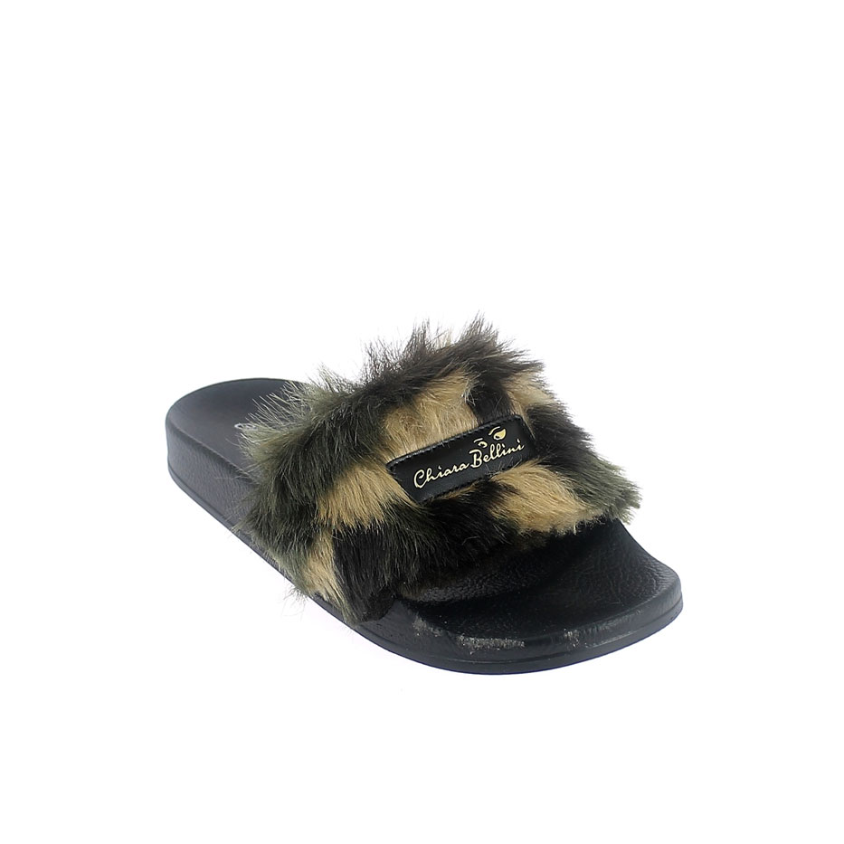 Mule with mimetic faux fur band upper and 3D logo