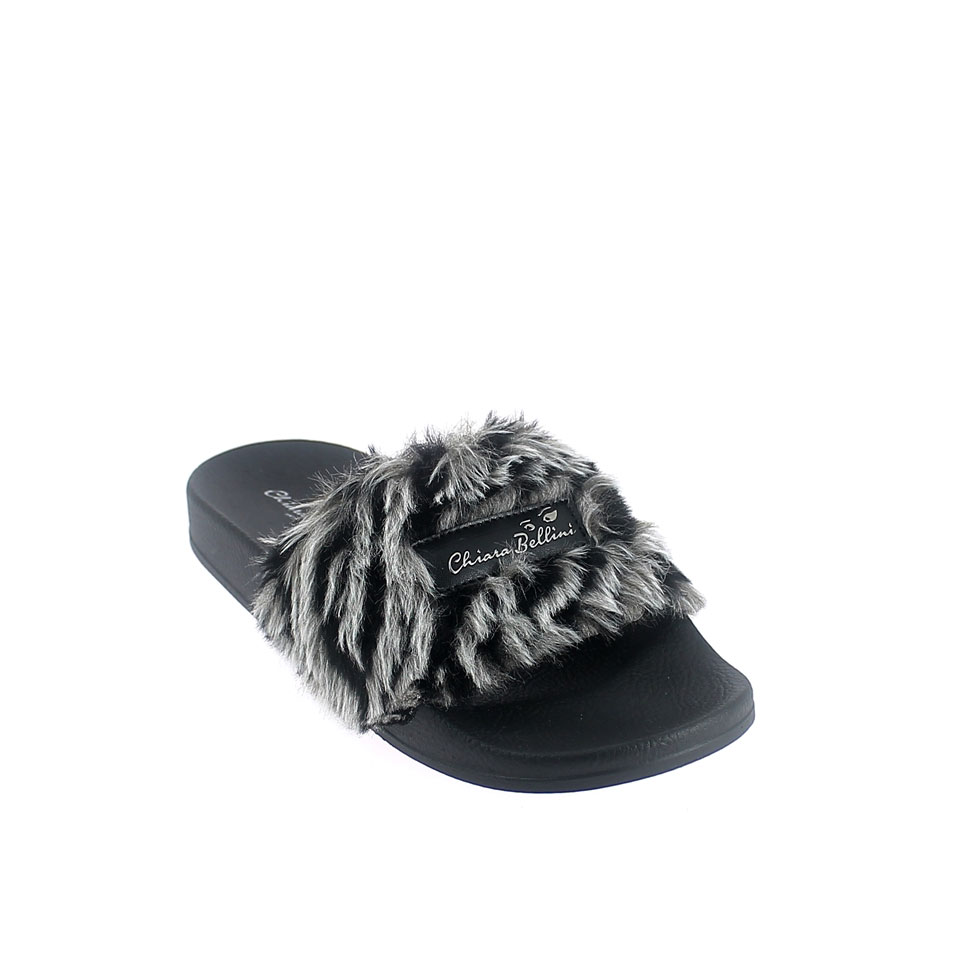 Mule with zebra faux fur band upper and 3D logo