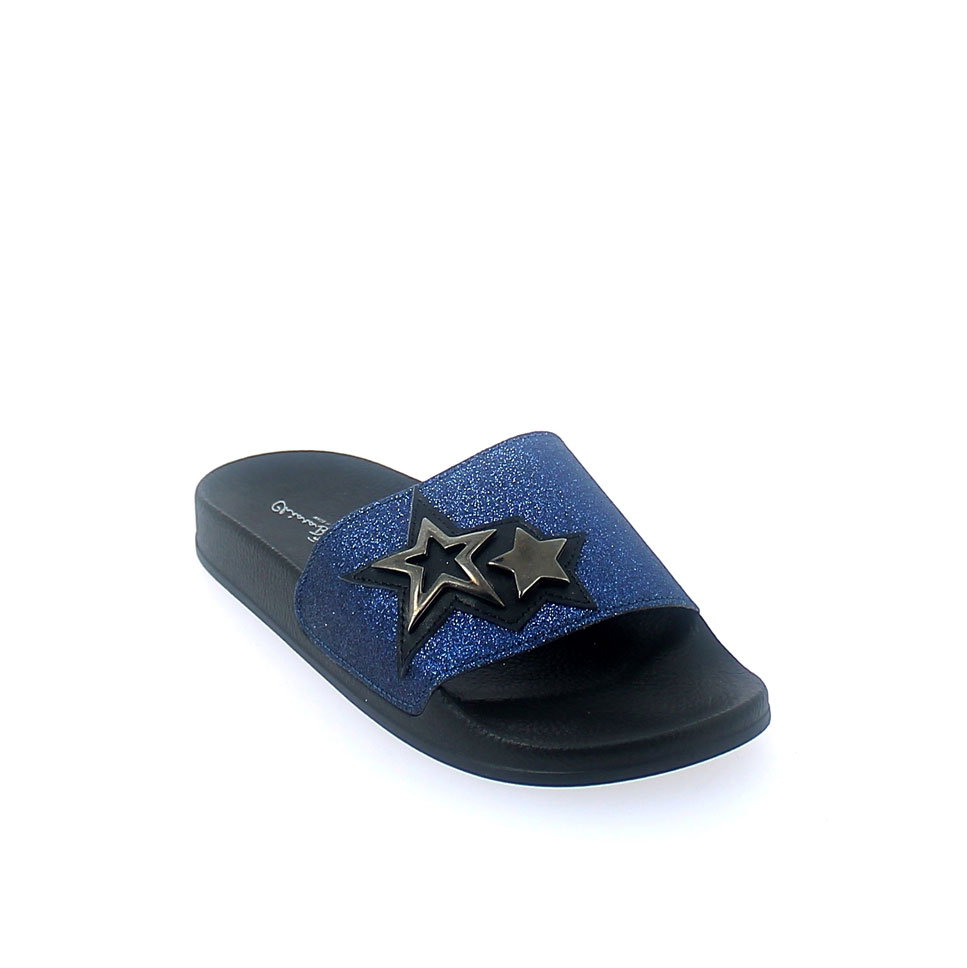 SUMMER MULE IN BLUE-BLACK COLOUR WITH GLITTERY BAND UPPER AND METAL APPLICATIONS IN THE SHAPE OF A GUNMETAL-COLORED STAR